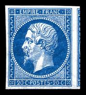 ** N°14A, 20c Bleu Type I, Belles Marges Avec Voisin, Fraîcheur Postale. SUP (certificat)  Qualité: ** - 1853-1860 Napoleon III