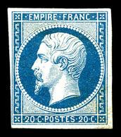 * N°14A, 20c Bleu Type I, Frais. TB (signé)  Qualité: *  Cote: 450 Euros - 1853-1860 Napoleon III