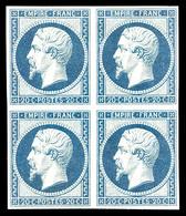 ** N°14Af, 20c Bleu Laiteux Type I En Bloc De Quatre (2 T*), Fraîcheur Postale, SUP (signé Calves/certificat)  Qualité:  - 1853-1860 Napoleon III