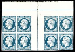 ** N°14Ai, 20c Bleu Laiteux En Bloc De Huit Avec Double Filet D'encadrement En Marge Centrale, Fraîcheur Postale, GRANDE - 1853-1860 Napoleon III