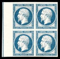 ** N°14Ai, 20c Bleu Laiteux En Bloc De Quatre (1ex*) Bord De Feuille Latéral Avec Filet D'encadrement, SUPERBE (certific - 1853-1860 Napoleon III