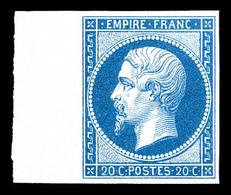 ** N°14B, 20c Type II Bord De Feuille Latéral, Fraîcheur Postale. SUP (certificat)  Qualité: ** - 1853-1860 Napoleon III
