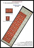 ** Cérès Type Chambon Sans Valeur En Rouge, Bloc De 20 Exemplaires Bas De Feuille Daté Du 16.12.22, 1er Essai De Roulett - Coil Stamps