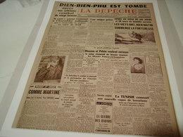 AFFICHE COUVERTURE LA DEPECHE DIEN BIEN PHU EST TOMBE 1954 - Other Collections