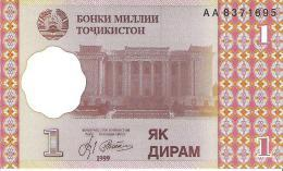Tajikistan - Pick 10 - 1 Diram 1999 - Unc - Tagikistan