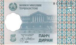 Tajikistan - Pick 11 - 5 Diram 1999 - Unc - Tadjikistan