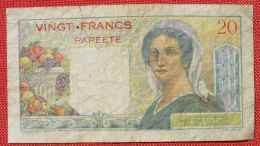 (1049209) Banque De L'Indochine Vingt Francs Papeete, Gebrauchsspuren, Siehe Bitte Originalbilder - Papeete (Polynésie Française 1914-1985)
