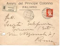 Raccomandata Da Paliano Frosinone Principe Colonna Per Roma 26.08.1937 - 1900-44 Victor Emmanuel III