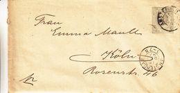 Pays Bas - Lettre De 1893 - Entiers Postaux - Oblit Amsterdam - Exp Vers Köln - Periode 1891-1948 (Wilhelmina)