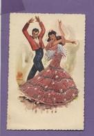 Thème - Carte Tissée - Couple De Danseurs Espagnols - Cartes Postales