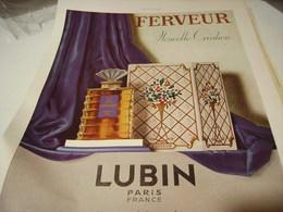 ANCIENNE PUBLICITE PARFUM FERVEUR  DE LUBIN 1941 - Perfume & Beauty