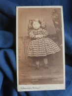 Photo CDV Falkenstein à Strasbourg - Second Empire Jeune Enfant, Robe à Crinoline Vers 1860 L394 - Photos