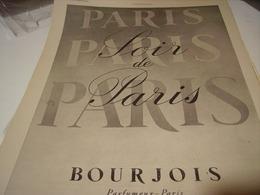 ANCIENNE AFFICHE PUBLICITE SOIR DE PARIS BOURJOIS 1941 - Perfume & Beauty