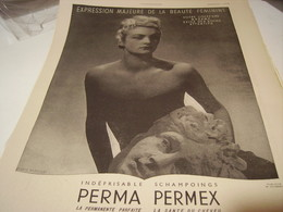 ANCIENNE PUBLICITE CHEVEUX SCHAMPOINGS PERMA PERMEX 1941 - Perfume & Beauty
