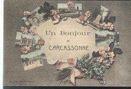 CPA Multivue Carcassonne - Un Bonjour De Carcassonne - Circulée 1909 - Carcassonne