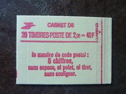 1983 Liberté De Delacroix 2,00F Rouge CODE POSTAL (YT : 2274-C4a) 20 Timbres Gomme Mate PARFAIT ETAT Conf. 8  ** MNH - Usage Courant