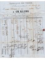 Facture CH. KLING. Ste MARIE Au MINES. 1872. Fabrique De Tissus. Affranchissement  Allemand. - 1800 – 1899