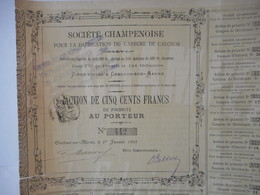 CHAMPENOISE Por La Fabrication Du CARBURE De CALCIUM 1901 Chalons Sur Marne - Industrie