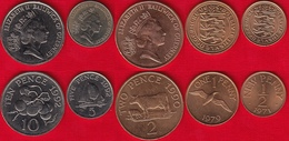 Guernsey Set Of 5 Coins: 1/2 Penny - 10 Pence 1971-1992 UNC - Guernesey