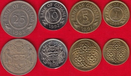 Guyana Set Of 4 Coins: 1 - 25 Cents 1967-1992 - Guyana