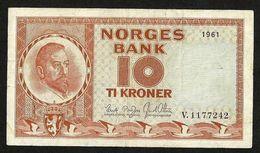 NORWAY 10 KRONER 1961 (V 1177242) P-31c VF CIRCULATED BANKNOTE - Norvège