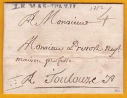 1782 - Règne De Louis XVI - Marque LE MAS D'AZIL Sur Lettre Avec Correspondance Commerciale Vers Toulouse - Marcophilie (Lettres)