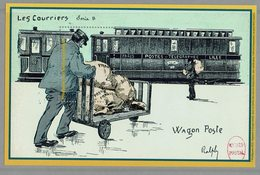 VIGNETTE POSTE FRANCAISE LES COURRIERS WAGON POSTE TRAIN - Viñetas De Fantasía