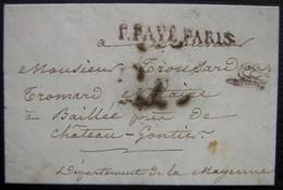 1826 Port Payé De Paris Avec Marque (Vérification Port Et Taxes ?) Pour Baillée (Ballée ? Mayenne) Près Château Gontier - 1801-1848: Précurseurs XIX