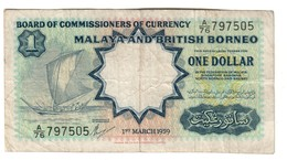 Malaya & British Borneo 1 Dollar 01/03/1959  .J. - Malaysie