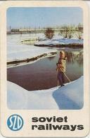 The Calendar Of The USSR - Russia - 1970 - Soviet Railways - Winter - Nature - Girl Advertising - Rarity - Calendars