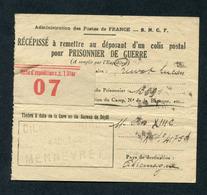 """WWII """"Récépissé à Remettre Au Déposant D'un Colis Postal Pour Prisonnier De Guerre"""" Gare De Mennevret - Aisne WW2 - Titres De Transport"""