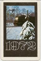 The Calendar Of The USSR - Russia - 1972 - Soviet Railways -  Train -  Winter - Nature - Girl Advertising - Rarity - Calendars