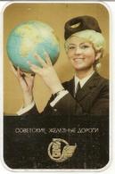 The Calendar Of The USSR - Russia - 1973 - Soviet Railways - Conductor - Globe - Advertising - Plastic - Rarity - Calendars