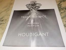 ANCIENNE PUBLICITE PARFUM TRANSPARENCE DE HOUBIGANT 1938 - Perfume & Beauty