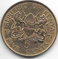 *kenia 5 Cents 1971  Km 10  Xf+ - Kenya