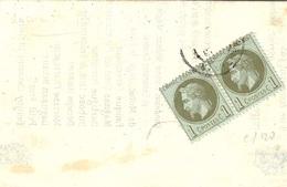1871- Imprimé Commercial Vente De Vins Et D'Armagnac  De MAUZEVIN ( Gers ) Affr. Sous Bande Paire  1 C N° 25 - Postmark Collection (Covers)