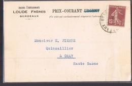 Anciens Etablissements '' LOUDE Frères '' Bordeaux . Le 29 Mars 1930 . - Publicidad