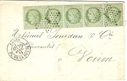 1873- Lettre De Paris / Pl. De La Bourse Affr. Bande De 5 N° 53  Oblit. étoile 1 Pour Voiron - Marcophilie (Lettres)