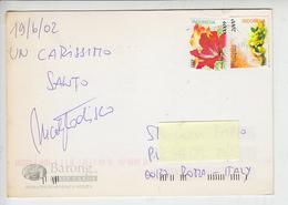 INDONESIA  2002  - Fiori - Cartolina Per Italia - Indonesia