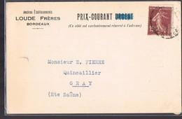 Anciens Etablissements '' LOUDE Frères '' Bordeaux . Le 18 Mars 1930 . - Publicidad