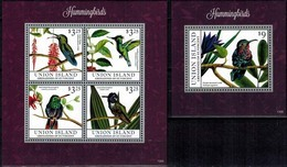 MDB-BK22-363 MINT PF/MNH ¤ UNION ISL. GRENADINES 2013 KOMPL. SET ¤ BIRDS OF THE WORLD OISEAUX BIRDS AVES VOGELS VÖGEL - Hummingbirds
