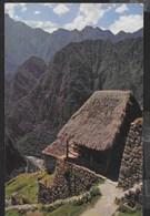PERU' - CASA TIPICA INCA - FORMATO  PICCOLO - VIAGGIATA FRANCOBOLLO ASPORTATO - Perù