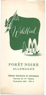 Brochure Dépliant Faltblatt Toerisme Tourisme - Wildbad - Foret Noire - Allemagne Deutschland  Ca 1960 - Tarif - Dépliants Touristiques
