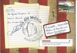 """Argentine - TP Ushuaia Terre De Feu N°2779 Sur Carte Postale D'Ushuaia Avec Cachet """"Fin Del Mundo"""" ( Phare - Manchots ) - Lettres & Documents"""