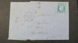 Lettre De Monblanc Hérault Cachet OR Bureau De St Thibery GC 3873 Sur Ceres 1874 Pour Montelimar - 1849-1876: Période Classique