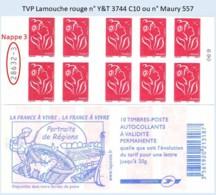 FRANCE - Carnet Numéro 28632-3 - TVP Lamouche Rouge - YT 3744 C10 / Maury 557 - Carnets