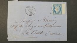 Lettre De Roujan  Hérault  GC 3225 Sur Ceres Bord De Feuile 1873   Avec Texte - 1849-1876: Période Classique