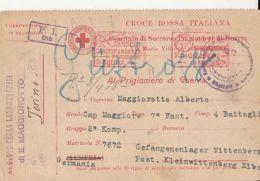 D8379- WAR PRISONER POSTCARD, ITALIAN RED CROSS, ORGANIZATIONS, CENSORED NR 22, WW1, 1918, ITALY - Cruz Roja