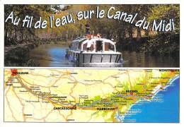 ** Lot De 4 Cartes ** PENICHE ( Canal Du MIDI ) Péniches De Promenade - CPM GF Barge Astkähne Aken Chiatte - Embarcaciones