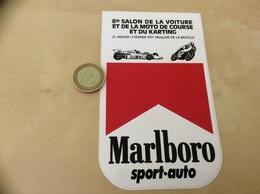 AUTOCOLLANT, Sticker « Marlboro , 8e SALON DE LA VOITURE ET DE LA MOTO DE COURSE ET DU KARTING 1977 » (Formule 1) - Stickers